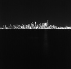 City (Zeb Andrews) Tags: seattle pacificnorthwest cityscape urban mediumformat 6x6 hasselblad500c kodaktrix nighttime blackwhite pugetsound