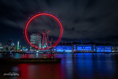 Let's go round again (Alex Chilli) Tags: londoneye countyhall river thames wheel blue red reflection longexposure night nocturne photography afterdark canon london eos 70d