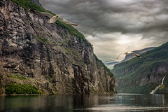 I hear those seabirds cry (Ania Kanabaj) Tags: geiranger hellesylt norway unesco attraction carferry cliff clouds hills landscape mountain natura nature outdooractivities rocks sea seacoast seabirds seagull shadows sky snow stones summer travel valley water waterreflection waterfall yacht
