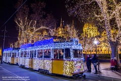 Christmas tram in Budapest (Mark Mervai Photography) Tags: budapest christmas tram hungary traffic night nightlapse nightshot cityscape beautiful beauty citylife urban urbex travel destination street art europe holiday freedom liberty lights lightning house parliament architecture nature world longepxosure expo evening morning winter cold wow frozen amazing sunset dark water landscape clouds new wood
