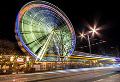 Spinning Wheel (Paul S Ewing) Tags: edinburgh christmas lighttrails uk scotland city spinning starburst