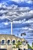 Lake Michigan Wind Power (creepingvinesimages) Tags: hww windmill bayviewmilwaukee wisconsin lakemichigan windpower sky clouds blue nikon d7000 pse14 photomatix