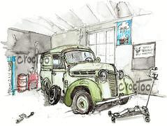 Périgné, la Juva 4 (Croctoo) Tags: croctoo croquis croctoofr aquarelle watercolor auto bagnole juva juva4 renault garage poitou poitoucharentes périgné pneucrevé