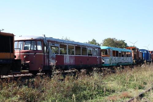 Schrottreife MAN-Schienenbusse der DRE in Klostermansfeld