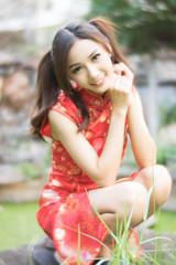 DSC00689 (Spyrosis) Tags: woman portrait fashion female asian model cute beauty chinese new year red qipao dress lomography achromat