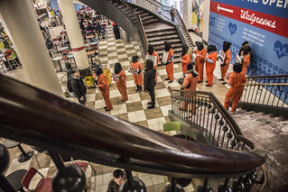 Anti-Torture Protesters Assemble in the Food Court at Union Station