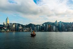Junk (OzGFK) Tags: asia hongkong hongkongisland hongkongbay hongkongharbour sea ocean junkboat clouds summer cityscape landscape