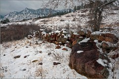 Stone Wall (Front Ranger) Tags: winter stonewall snow mountains cold rocks grey gray boulder openspace trail