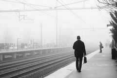Another Morning (kogh65) Tags: photography photo travel art street black white leica m mono tone city outdoor life people depth field reportage young kogh candid camera focus pov picture 50mm image artist kogh65 blackandwhite monochrome 2017 fog morning trainstation train flatform njtransit princeton jct newjersey nj new jersey anotherday