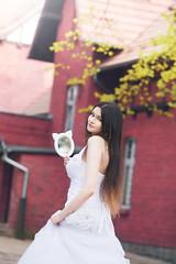 princess with cat mirror (becekubiak) Tags: woman white girl cat hair mirror long dress princess longhair ombre kot lustro biaa suknia wosy dugie meerymeetme