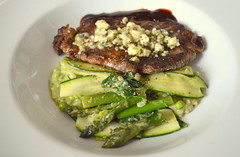 Pan Seared Sirloin Steak, Courgette, Asparagus and Garden Pea Risotto with Gorgonzola Crumbs (Tony Worrall) Tags: uk england food green make menu yummy nice dish photos tag cook tasty plate eaten things images x meat made eat foodporn add steak meal taste dishes cooked tasted grub iatethis foodie flavour plated foodpictures ingrediants picturesoffood photograff foodophile ©2015tonyworrall