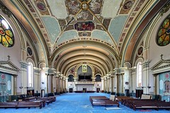 Blue Rhaspsody (earthmagnified) Tags: blue urban abandoned broken church glass carpet peeling decay mosaic exploring explorer pipes chapel ceiling stained altar aisle organ nave exploration rood fresco pews pulpit abandonment ue urbex arched collapsing