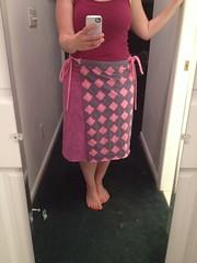 Wrap skirt (squishythings) Tags: pink pattern purple handmade sewing skirt diamond clothes raspberry hotpink handdyed reverseapplique handsewing wrapskirt alabamachanin alabamastudiosewingpatterns