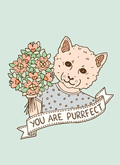 Purrfect (emmamargaretillustration) Tags: flowers illustration cat design kitten perfect card greetings etsy purrfect