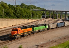 "YKC75-16 in Kansas City, MO (""Righteous"" Grant G.) Tags: city railroad west up car train power pacific union railway trains bn missouri bottoms kansas coal transfer hopper freight bnsf kct manifest"