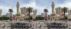 Clock Tower on the Konak square, Izmir, Turkey (urix5) Tags: tower clock turkey palms stereoscopic 3d crosseyed pigeons clocktower stereo stereopair konak tr izmir crossview izmirclocktower