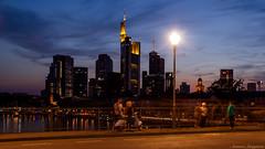 Frankfurt by night (tuonyy) Tags: blue water germany lights frankfurt main ffm