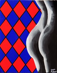 Nude in the shadows and pattern (James Andrews1) Tags: blackandwhite woman nude pattern butt curves beautifulwoman redandblue acrylicpainting femalenude femaleback artsynude nudepainting blackandwhitenude jamesandrews sexynude diamondpattern femalecurves argylepattern elegantnude shadownude jamesandrewsartist nudeintheshadowsandpattern