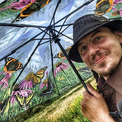 We #love #Bug's new #umbrella! #ecology #butterflies (Sterling College) Tags: umbrella square highlights squareformat iphoneography instagramapp uploaded:by=instagram