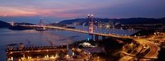 Tsing Ma Bridge  (jus.tin) Tags: china city bridge light sunset urban hk skyline architecture canon ma eos is asia long exposure iii hong kong 5d usm prc   ching ef mk traffice yi tsing 1635mm hksar f4l