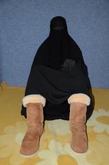 My UGG boots (Buses,Trains and Fetish) Tags: winter girl fur warm boots hijab niqab slave burka chador