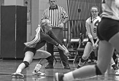 IMG_8357-01 (SJH Foto) Tags: girls volleyball high school york delone catholic team teen teenager black white blackandwhite bw monocolour dig bump