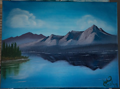 Lavender Practice (Arthur Zdrinc) Tags: oil painting bob ross style northern lights glaciers glacier stars alaska water mountains bushes happy trees aurora borealis space sky beautiful art fine birds clouds fluff sun flying