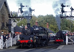 BR 2-6-4T Class 4MT No 80136 & USATC S160 no 6046 @ Grosmont,  North Yorkshire Moors Railway (Ermintrude73) Tags: northyorkshiremoorsrailway nymr nymrautumnsteamgala2016 grosmont 80136 6046 br264tclass4mt usatcs160