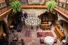2016 - Mexico - Querétaro - La Casa de la Marquesa (Ted's photos - For Me & You) Tags: 2016 cropped mexico queretaro santiagodequeretaro tedmcgrath tedsphotos tedsphotosmexico vignetting lacasadelamarquesa lacasadelamarquesaqueretaro queretarolacasadelamarquesa hotel lobby hotellobby chandelier nikon nikonfx nikond750 bar lounge plants rugs chairs stools seating seats railing ironrailing lamps diningroom