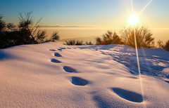 Footsteps (Nick Panagou) Tags: light landscape sky sunset snow snowscape winterscape sunsetlight art nature naturegreece flickrsbest flickrinteresting flickrnature explore exploring mountains mountain wintersun greece greatphotographers gold goldenhour magnesia thessaly path pelion mtpelion clouds canon6d canon view