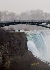 Niagara Falls - US Observation Deck (Kostas Trovas) Tags: portrait landscape nature water overcast forceofnature niagarariver waterforce niagarafalls waterfalls observationdeck silhouette minimalist travel outdoors bbctravel photography ontario canada river tourism cliff tourist