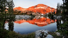 Upper Ottoway Lake Alpenglow - Yosemite (Bruce Lemons) Tags: california yosemitenationalpark yosemite sierra sierranevada mountains hike backpacking hiking wilderness ottowaylake lake alpenglow orange peaks sunset reflection mercedpeak