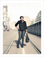 Amsterdam (Chris 1971) Tags: woman girl amsterdam lady pose dame vrouw rokin poseren