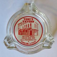 TONI'S TAVERN CHESTER PENNSYLVANIA (ussiwojima) Tags: glass bar advertising restaurant lounge chester cocktail tavern ashtray pensylvania tonistavern