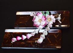 Hot Pink Cherry Blossoms with Light Pink Accents. Sakura Tsumami Zaiku or Kanzashi. (Bright Wish Kanzashi) Tags: kanzashi tsumamizaiku hanakanzashi handmade silk textile art japanesetechnique sakura cherry blossom lotus teal pink
