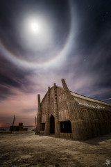 Moon Apocalyptica (Mahmood Alsawaf) Tags: iraq marshes mahmoodalsawaf photography landscapes night nightphotography nightscape moon halo corona host cloudy clouds nature