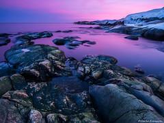 The Last Light & The Cliffs (zackesvensson) Tags: landscape sweden waterscape water evening shoreline longexposure januari landscapephotography panasonic samyang