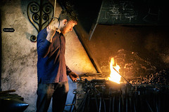 The blacksmith shop (Dannis van der Heiden) Tags: blacksmith iron fire forge smithy redhot tools wall museum hood slta58 sigma18300mm arnhem persona atmosphere labour