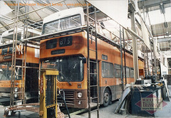 Bus number 5060 gets some TLC (Museum of Transport Greater Manchester archive) Tags: museum transport cheetham manchester wwwgmtscouk gmts bus buses museumoftransport gmtscollection greatermanchestertransportsociety boylestreet cheethamhill m88uw mcw metrobus metrocammell metcam weymann 5060 mrj60w greatermanchester greatermanchestertransport gmt gmpte hyderoad hyderd works garage depot repair damage damaged