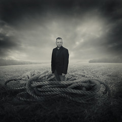 Still dreaming (Michal Giedrojc) Tags: man suit rope field dream portrait sky manipulation photomontage creative surreal