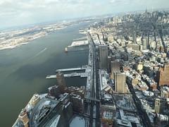 Aerial View, Snow View, Lower Manhattan,Tribeca, Hudson River, One World Observatory, World Trade Center Observation Deck, New York City (lensepix) Tags: aerialview snowview oneworldobservatory worldtradecenterobservationdeck newyorkcity observationdeck snow winter lowermanhattan hudsonriver