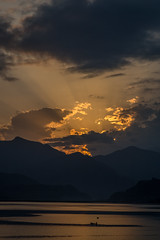 Sunset over Phewa Lake, Nepal (Stewart Miller Photography) Tags: phewa lake nepal sunset sunbeams