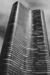 Black Tower [Explore 2017-02-06] (Bokehneer) Tags: chicago highrise tower architecture bw monochromatic windows illinois usa