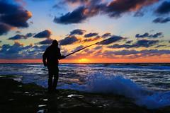 Fishing at sunset - Tel-Aviv beach (Lior. L) Tags: fishingatsunsettelavivbeach fishing sunset telaviv beach fishingatsunset silhouette fisherman clouds cloudysunset sea seascapes sky nature travel travelinisrael israel