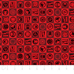 """(Camelot Cottons) Marvel Comic II, Icons In Red • <a style=""""font-size:0.8em;"""" href=""""http://www.flickr.com/photos/132535894@N06/18143465124/"""" target=""""_blank"""">View on Flickr</a>"""