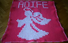 Angel Blanket for Aoife (dochol) Tags: pink baby chart cute wool angel pretty handmade name ange crochet craft graph yarn blanket afghan bebe alphabet hook manta anjo personalised croche