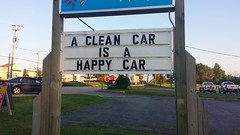 A Clean Car is a Happy Car (Cragin Spring) Tags: usa sign illinois midwest unitedstates dusk unitedstatesofamerica richmond il carwash wash route12 mchenrycounty richmondil rt12 richmondillinois rocketwash