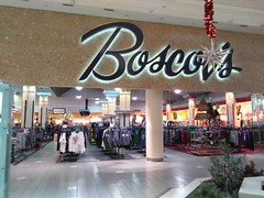 Stepping Back in Time (Timothy Pitonyak) Tags: boscovs department store retail moorsetown newjersey moorsetownmall interior mirrors lighting holiday merchandise hardlines retro mall entrances neon 1980s achitecture