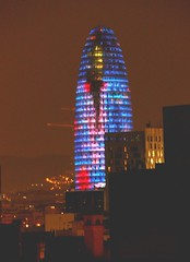 Torre Agbar light up at night a few days before Christmas. (nick taz) Tags: torreagbar barcelona night light