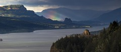 Rainbow in the Columbia River Gorge (Mstraite) Tags: view gorge columbia columbiarivergorge womens womansforum vista vistahouse rainbow water river trees tree green light sunlight clouds weather rain tripod oregon statepark canon cats